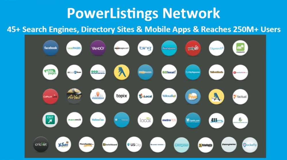 PowerListings Local Network with 45+ Search Engines, Directory Sites and Mobile Apps